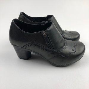 "Women's Dansko ""Nancy"" Black Leather Bootie heels"